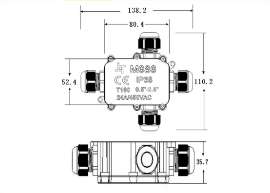 Waterproof Junction Box Connector Outdoor 240v Mains