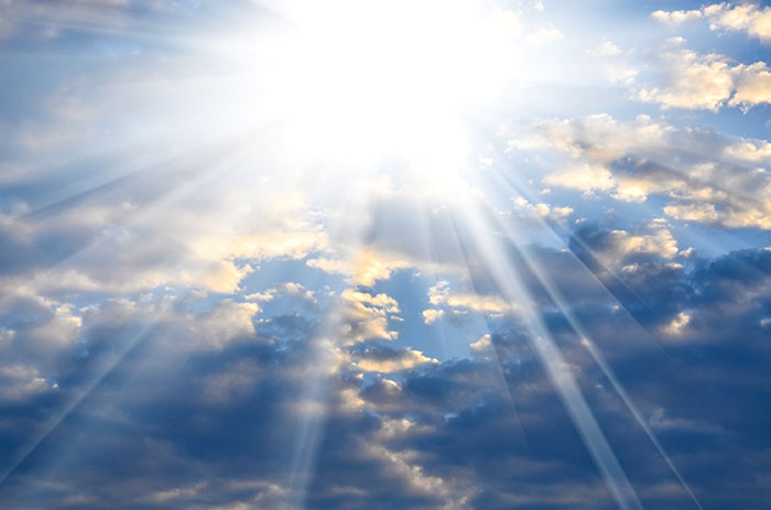 beautiful blue sky with bright sun light from heaven