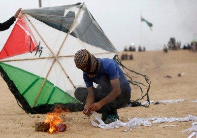Kites burn in Gaza