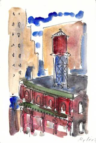 Water tower on Lafayette Street