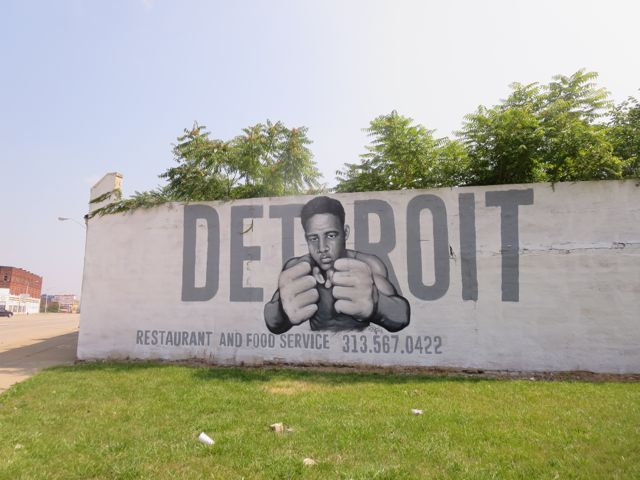 Black Power mural welcomes visitors.