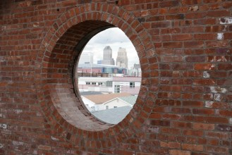 Round window to Downtown Newark