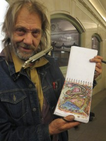 German expatriat turned traveling artist in Grand Central
