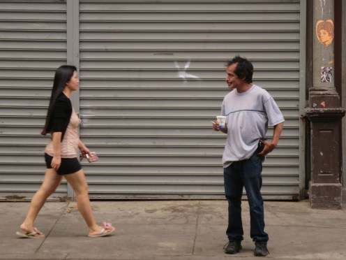 Sidewalk voyeur
