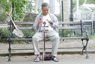 Musician in Columbus Park, Chinatown