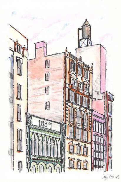 Finished watercolor of Broadway in SoHo