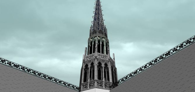 Amiens Cathedral Main Spire above Crossing
