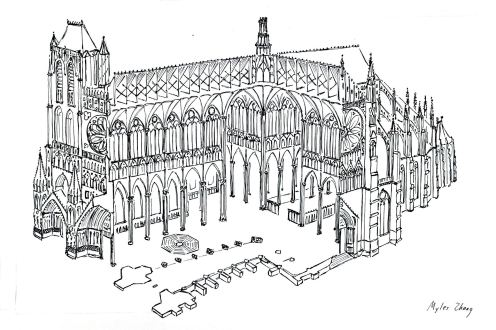 Amiens Cathedral in Black and White