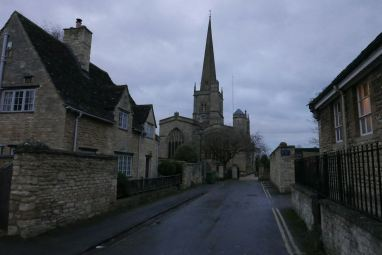 View from main street of Burford toward the church.