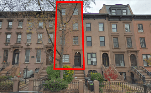 303 President Street, Carroll Gardens: The brownstone in center used to resemble its neighbors but was modified before the neighborhood was made a historic district in 1973.