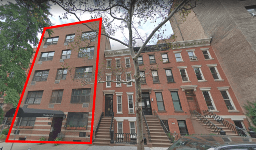 55 West 83rd Street, Upper West Side: This c.1950 building on left has no historic value, but it is surrounded by historic structures on either side and across the street. Hence, some of the legal protection for the neighbors are extended to this building, too.