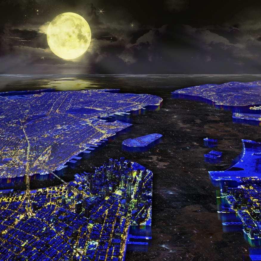New York Harbor by Night