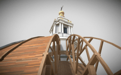Cross section of rafters and cupola
