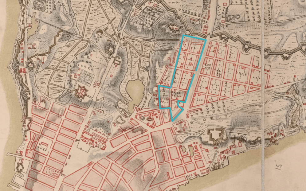 Route of walking tour superimposed over 1782 map of Manhattan