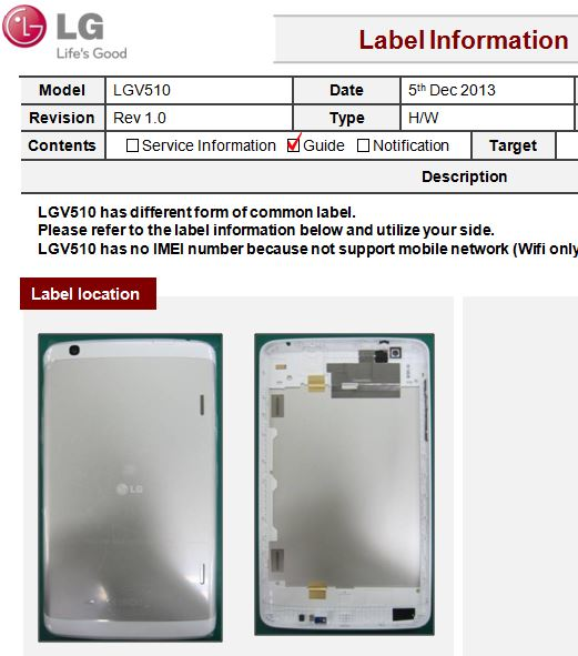White LG V510 tablet real pictures leaked