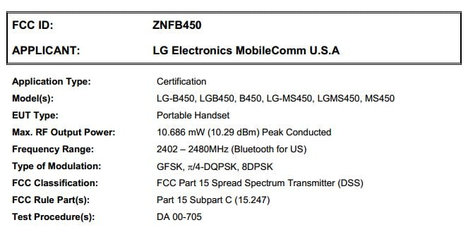 T-mobile LG B450 and MetroPCS MS450 Spotted in FCC Filing