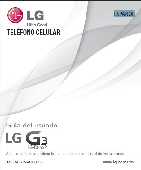 LG G3 D855P User manual / Guide [ESPAÑOL, Mexico]
