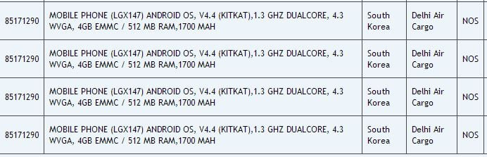 New LG X147 Specs leaks in zauba listings with 4.3-inch WVGA display and 512mb RAM