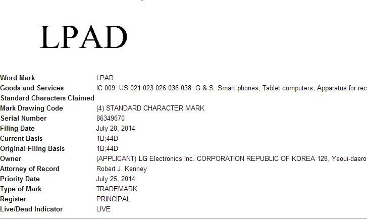 LG Files Trademarks for LPAD and WPAD