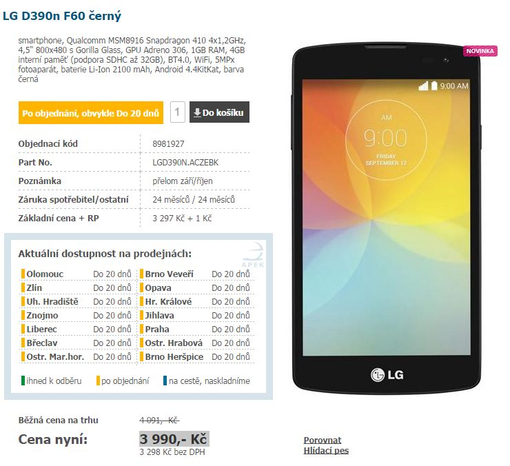 LG F60 European Version (D390N) Price, Full Specs and Image show up on Czech Republic website