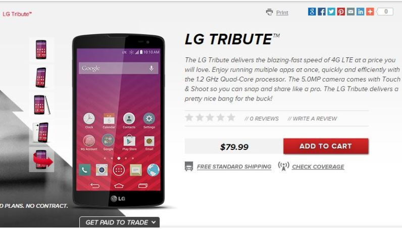LG Tribute now available online from Virgin mobile at $79