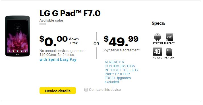 LG G PAD F 7 0 (LK430) Now available from Sprint - My LG Cell Phones