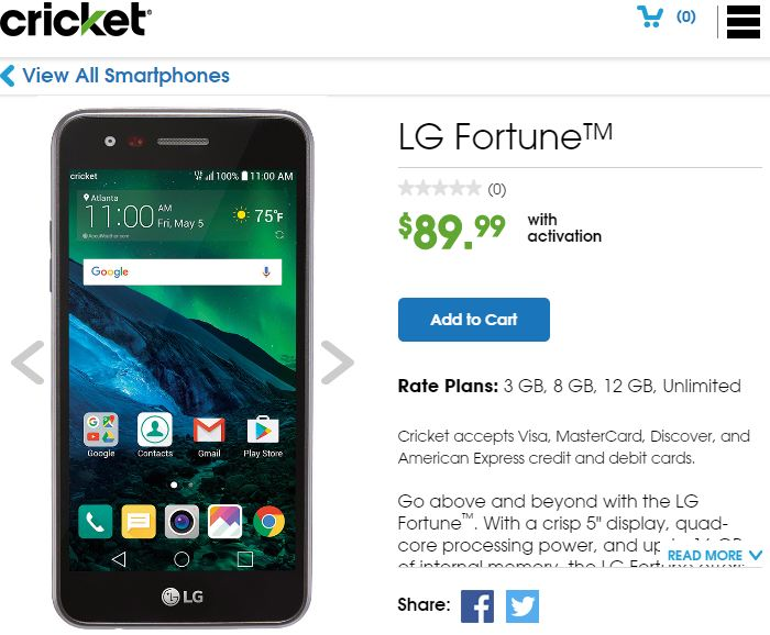 LG Fortune (LG-M153) now available from Cricket Wireless