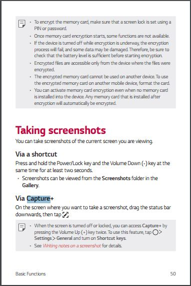 AT&T LG G6 H871 User guie- How to take screen shot - Page 50