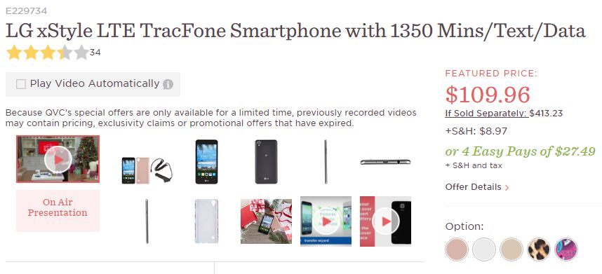 Tracfone Compatible Smartphones >> Deal Lg X Style Tracfone L56vl With 1350 Airtime Bundle On