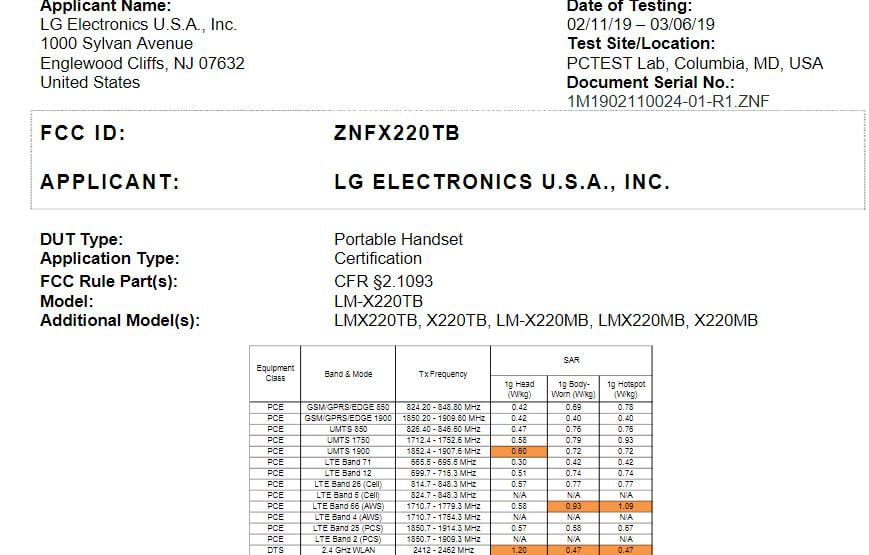 LG LMX220TB (X220TB) for T-mobile Receives FCC Approval