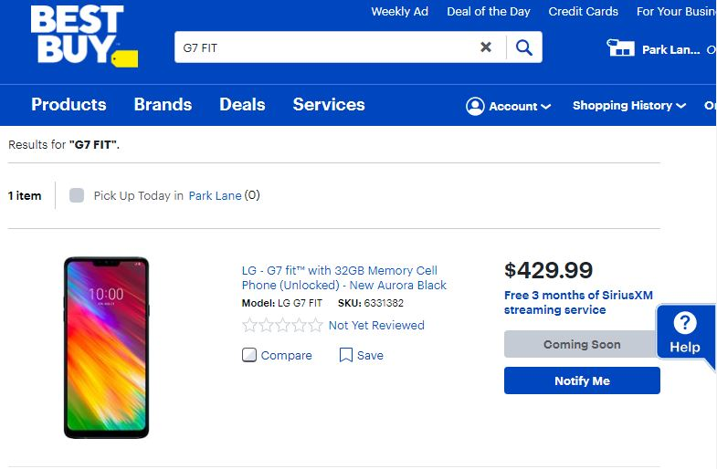 "LG G7 FIT Q850QM Listed as ""Coming Soon"" On BestBuy Website"