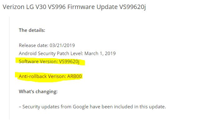 Verizon LG V30 VS996 Firmware Update VS99620j