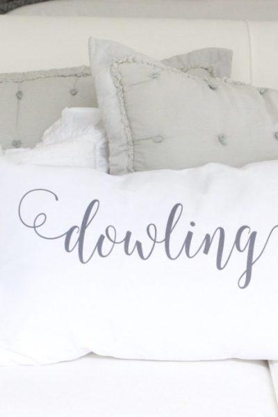 Custom pillows and handmade items- linens- ruffles- personalized- pillowcases- handmade- details- ruffle covers