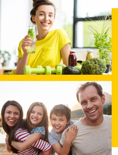 Young woman drinking a green juice and happy family smiling