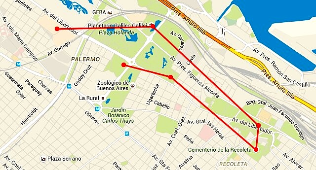 Kartenausschnitt Palermo Recoleta, Karte tripline.net