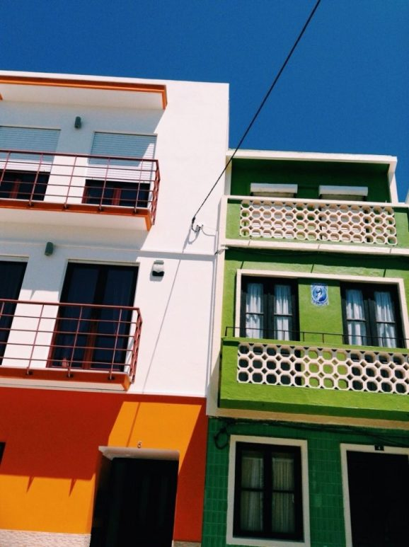 rainbow houses in the fishing village of Figuiera da foz on Portugals Atlantice coast
