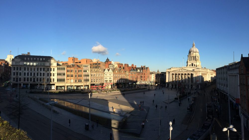 Panoramic rooftop shot od Old Market Square in Nottingham, England