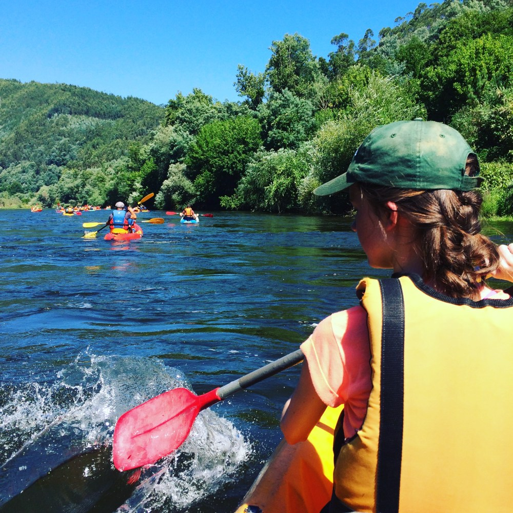 Kayaking on The Mondego River in Portugal, a great activity for old and young alike, the guides help you as much or as little as you need. A fantastic opportunity to take in some beautiful scenery from the river.