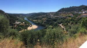 view of the mondego river from penacova portugal