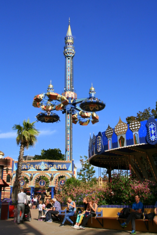 Some of the rides at the Theme park - Tivoli Gardens, Copenhagen, Denmark