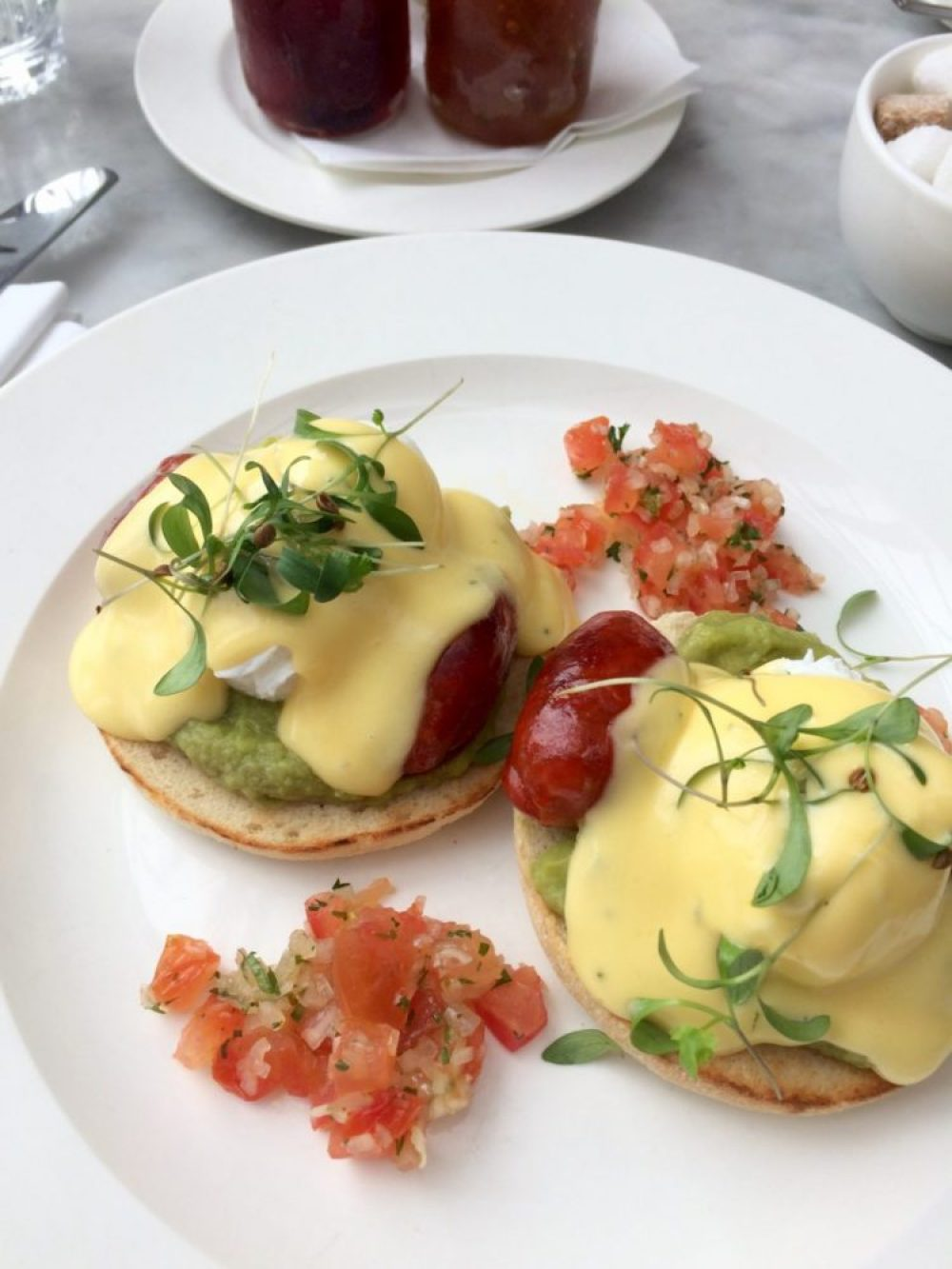 Huevos Benedictos at the Bourne and Hollingsworth Buildings Restaurant, Clerkenwell, London