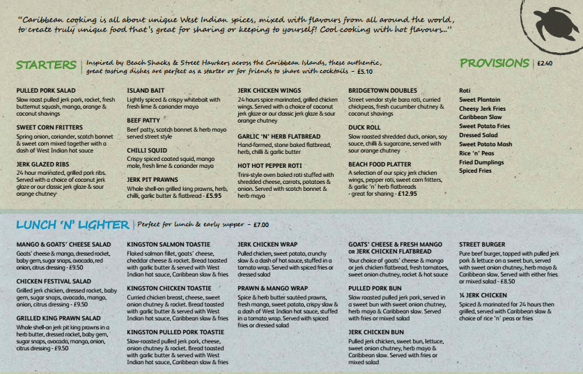 Menu for Turtle Bay Caribbean Restaurant, Nottingham