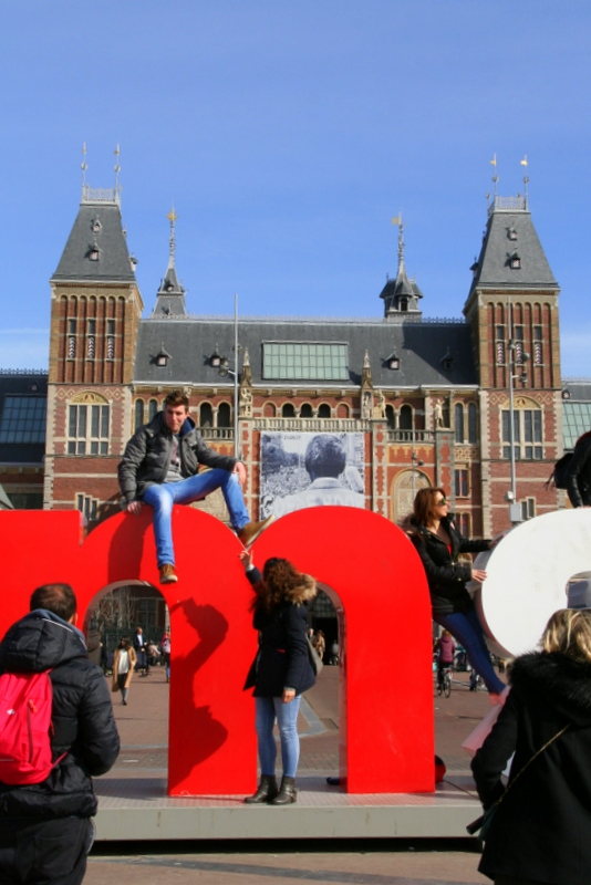 IAmsterdam sign outside of the Rijksmuseum in Amsterdam - feel free to climb it, it's what everyone does in Amsterdam!