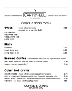 The coffee at Cartwheel coffee is excellent value for money - one of my most favourite coffee shops in Nottingham