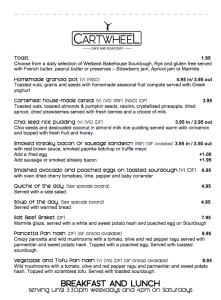 The breakfast menu at cartwheel coffee is both delicious and healthy
