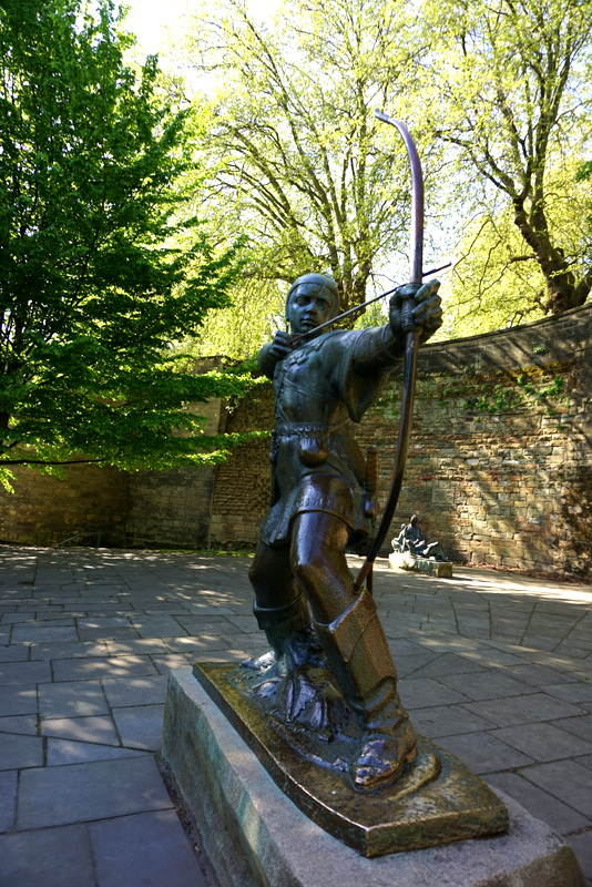 Robin Hood in Nottingham, just underneath Nottingham Castle, one of the places you should take the kids, a stellar Nottingham attraction