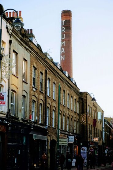 Brick Lane near Shoreditch in East London, the cool neighbourhood to visit