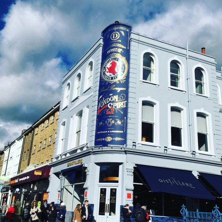 Gin distillery in London on Portobello Road in Notting Hill neighbourhood of London