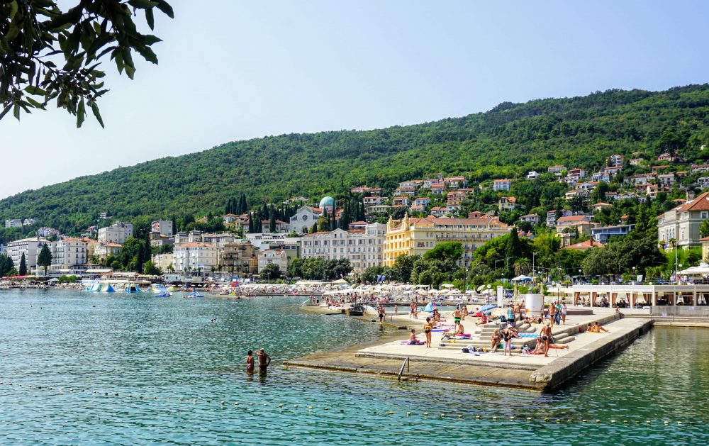 One of the best views of the beach resort Opatija in Istria Croatia is from the coastal path