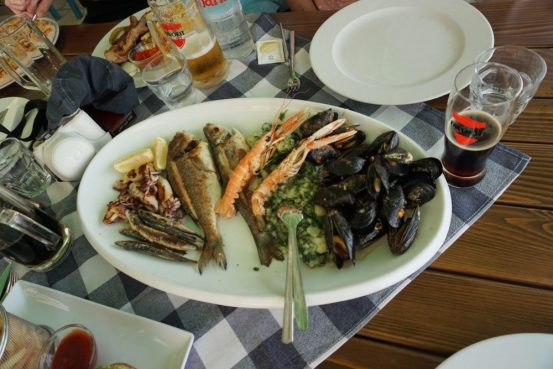 seafood platter at one of the restaurants in fazana